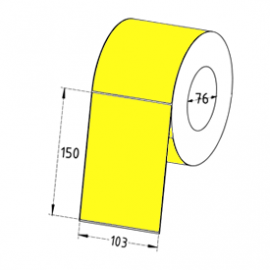 103mm x 150mm Direct Thermal Labels, 76mm Core, Yellow, Economy Paper, Permanent, Perforated, 1000 Labels/Roll