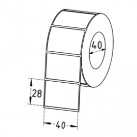 40mm x 28mm Thermal Transfer Labels, 40mm Core, Synthetic, Permanent, 1250 Labels/Roll