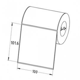 100mm x 101.6mm Direct Thermal Labels, 40mm Core, Permanent, 400 Labels/Roll