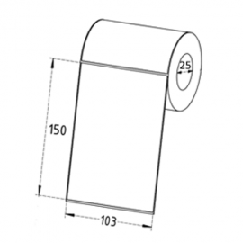 103mm x 150mm Direct Thermal Labels, 25mm Core, Standard Paper, Permanent, Perforated, 100 Labels/Roll
