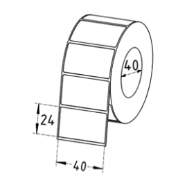 40mm x 24mm Direct Thermal Labels, 40mm Core, Permanent, 1500 Labels/Roll