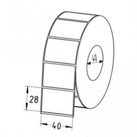 40mm x 28mm Thermal Transfer Labels, 40mm Core, Permanent, 1600 Labels/Roll